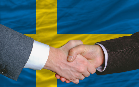 businessmen handshake after good deal in front of sweden flag